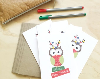 Christmas Card Pack - Owl with Christmas Lights - Set of 5 Cards - 5P010 - Wishing You a Merry Christmas
