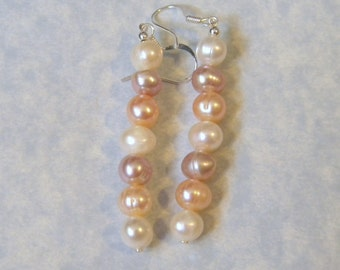 Multicolor White, Peach and Mauve Freshwater Pearl Drop Earrings