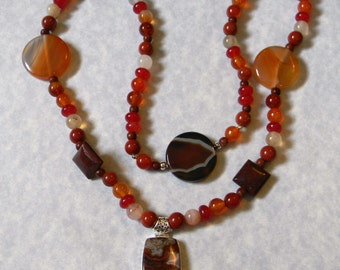 Crazy Agate and Shade of Orange Gemstone Pendant Necklace