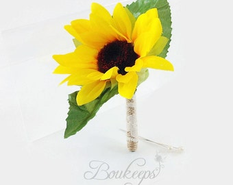 Sunflower Boutonniere with Burlap and Ivory Lace, Silk Sunflower Boutonniere, Sunflower Wedding, Rustic Wedding, Country Wedding