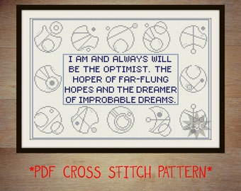 Doctor Who quote with Gallifreyan symbol border - counted cross stitch pattern