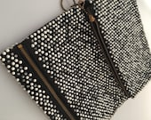 1950s Vintage Black & White  CAVIAR Beaded CLUTCH Bag