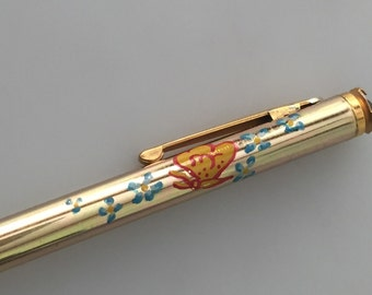 Vintage Mechanical Pencil by MASCOT Hand Painted with Jeweled Top Vintage LEAD Pencil Gold Plated Faux Emerald Glass Stone
