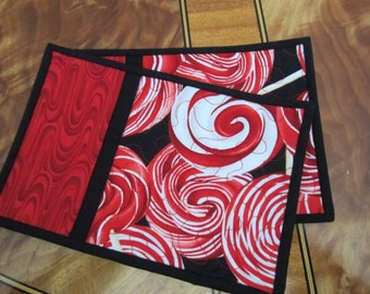 Lollipop swirls mug rugs.  Quilted mug rugs.