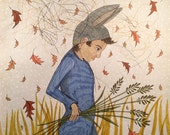 Archival India ink drawing on patterned paper, rabbit boy, walking figure, ink drawing, original art, field drawing