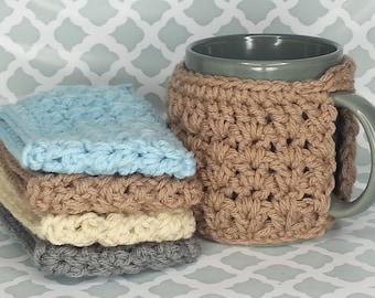 Set of 4 Mug Cozies - handmade crochet