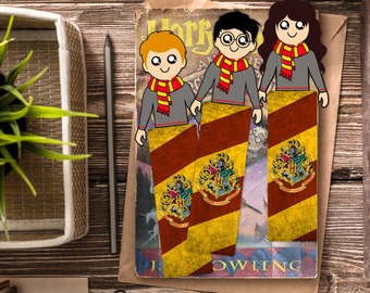Harry Potter Bookmark Set / Trio Bookmarks / Harry Potter Inspired / Handmade Bookmark / Ron Weasley, Hermione Granger / Book marks