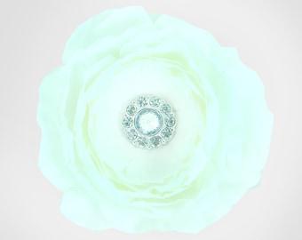 White Rhinestone Dog Collar Flower, Wedding Dog Flower, Collar Attachment: Ruffled Rani in White