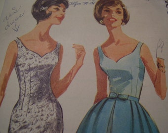 Vintage 1960's McCall's 6277 Dress and Overskirt Sewing Pattern, Size 12, Bust 32