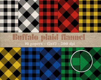 Buffalo plaid flannel digital scrapbooking paper pack - 10 textured check printable jpeg papers, 12x12, 300 dpi - instant download