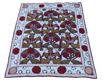 Suzani Vintage Suzani Old Embroidery Suzani Wall Hanging Purple White Uzbek Suzani Table Cover 3.58' x 4.12'  FAST SHIPMENT with ups - 07464