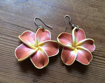 Hawaiian Flower earrings kitsch rockabilly red and yellow Plumeria