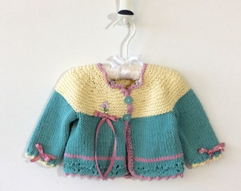 Vintage Style Cotton Baby Cardigan Sweater