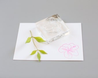 Hand drawn hibiscus clear stamp - hawaii stamp - floral stamp - hibiscus rubber stamp - hibiscus flower - hawaii rubber stamp - K0062