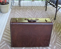 brown faux croc luggage