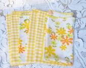Reserved Listing.6 Vintage Sunshine Yellow napkins. Picnic napkins.Party napkins. Yellow gingham napkins. floral yellow napkins
