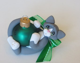 Gray Tuxedo Cat Christmas Ornament Polymer Clay Art Sculpture Handcrafted
