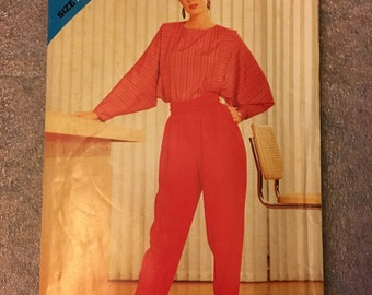 1980s UNCUT Original Vintage Misses Blouse and Pants Butterick See & Sew Sewing Pattern #5106 Size A (8-10-12)
