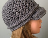 Unisex Gray Newsboy Hat, Newsgirl hat, Grey Childs Winter Hat, Teen Crochet Hat, Hat with Visor, Hat with Brim, Brimmed Beanie, Hat for boy