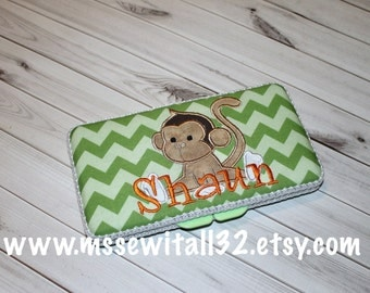 Custom Green Chevron with Monkey Applique Diaper Wipes Case