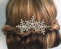 Winter snowflake hair comb -Wedding hair comb -  Bridal hair accessories - party headpiece.