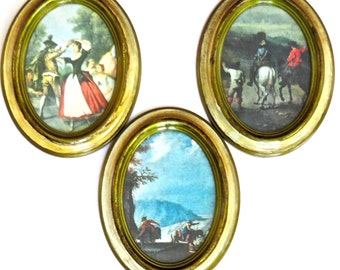 3 Oval Framed Italian Prints, Rococo Style, Made in Italy