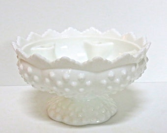 Fenton White Hobnail Candleholder Centerpiece, Wedding and All Occasion