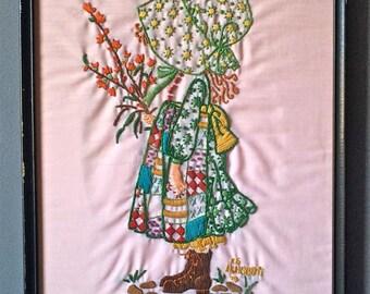 Vintage Framed Holly Hobbie Embroidery