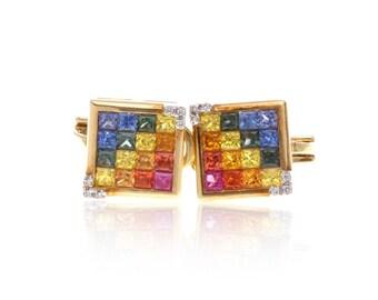 Multicolor Rainbow Sapphire & Diamond Fancy Square 18K Gold Earrings (3.61ct tw): SKU 20731