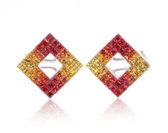 Multicolor Sunset Sapphire Diamond Orientation 14K Gold Earrings (6.87ct tw) SKU: 69203