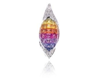Multicolor Rainbow Sapphire & Diamond Pendant 18K Gold (3.56ct tw) SKu: 13283