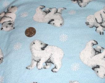 BLUE FLANNEL W/ Polar BEARS & Snowflakes.  So cute! over 2 yards.