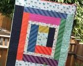 Patchwork Baby Quilt, tiger/cat print fabrics!