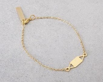 Delicate gold bracelet, or silver bracelet, cute geometric pendant.