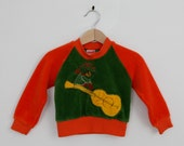 Vintage Green Velour Top with Guitar and Boy appliqué  24 months / 1970s vintage / vintage kids clothing / vintage baby clothing