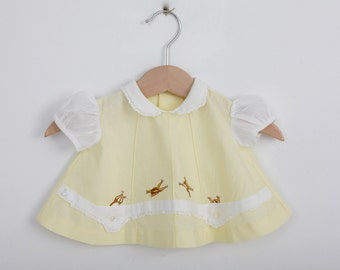 Vintage Newborn Baby Dress in Pastel Yellow with Embroidery 0 to 6 months