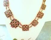 Vintage Necklace Monet Red Stone Medallion Links. RESERVED