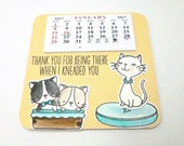 2017 Min Calendar, Kawaii Cat themed Calendar, Kawaii Cat gift, Mom and Kittens