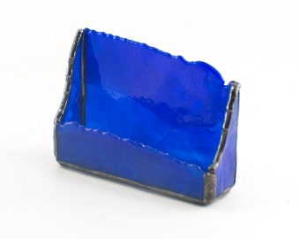 Business Card Holder for Men, Desk Accessories for Home Office, Unique Office Decor, Cobalt Blue Stained Glass, Executive Gifts for Women