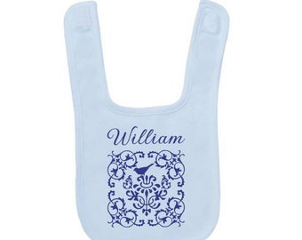 Customized Blue Damask Baby Bib