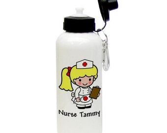 Personalized Nurse Animated Aluminum Water Bottle