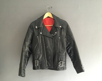 Black Leather Biker Jacket with Red Lining S-M