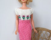Barbie clothes - pink and cream summer dress with hand embroidery