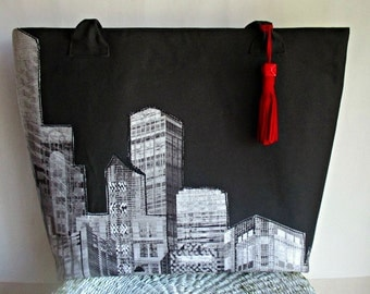 Tote Bag, Tote Bag Abstract Print, Weekender, Travel Bag, Red Black Grey Tote Bag,  Women's Bags - Handmade by iDesign For You