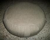 """Meditation Cushion. Zafu. Floor Pillow. Beige/Tan Hemp Cotton Blend Fabric. Buckwheat hull filled. 6"""" long Sidewall Zipper. Handmade, USA."""