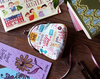 Jane Austen coin purse. Lined, metal frame wallet, perfect gift for a Janeite