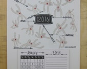 2016 Calendar - Year of the Sock Monkey, Letterpress Printed