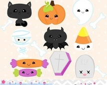 80% OFF - INSTANT DOWNLOAD, kawaii halloween clipart and vectors for personal and commercial use
