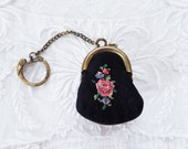 Vintage Petit Point Purse Key Chain W. Germany