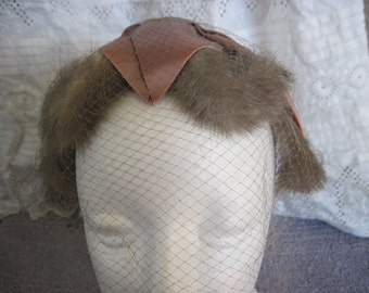 1950's  half hat with mink